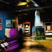 Interior view of museum exhibition with different colours art, exhibition, interior design, tourist attraction, black