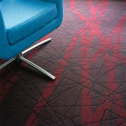 Textured carpet with red pattern, and blue office angle, carpet, floor, flooring, line, red, tile, black