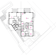Plan of apartment layout. - Plan of apartment angle, architecture, area, design, diagram, drawing, floor plan, line, plan, product design, schematic, structure, white