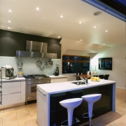 view of the kitchen area showing the sink ceiling, countertop, cuisine classique, interior design, kitchen, real estate, room, gray