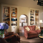 View of the family area, built in book ceiling, furniture, home, interior design, living room, room, wall, window, brown, black