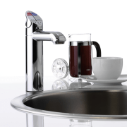 view of this stainless steel sink and tap coffeemaker, espresso machine, food processor, kettle, plumbing fixture, product, product design, small appliance, tap, white