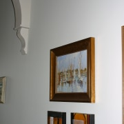 Hallway of older villa with light coloured walls, art gallery, exhibition, home, interior design, modern art, picture frame, gray