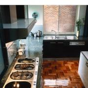 overhead view of hob and granite benchtop - countertop, floor, flooring, interior design, kitchen, tile, black