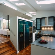 view of the entrance to the kitchen area countertop, home appliance, interior design, kitchen, gray