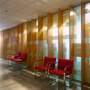View of the reception area,a white wall with architecture, ceiling, conference hall, floor, flooring, furniture, interior design, lobby, waiting room, wall, window covering, brown