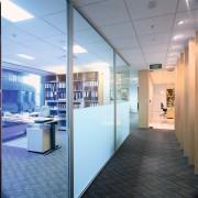 View of a hallway, carpet, glass screens dividing ceiling, floor, glass, interior design, office, teal