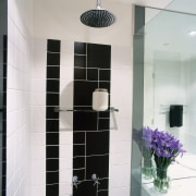 view of the stainless steel fittings and fixtures bathroom, flooring, glass, interior design, plumbing fixture, room, tile, white