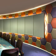 View of the meeting room, grey carpet, grey auditorium, ceiling, interior design, theatre, wall, brown