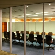 View of the entire meeting from through the ceiling, conference hall, furniture, glass, interior design, office, wall, brown