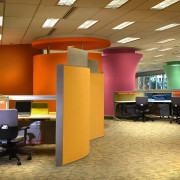 View of a office area, brown carpet, yellow ceiling, furniture, institution, interior design, office, product design, brown