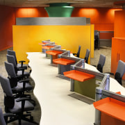 View of the workstation, white wavey desk with conference hall, desk, furniture, interior design, office, orange, product design, table