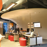 View of the showroom, glass screen, white curved ceiling, interior design, tourist attraction, brown