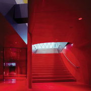 View of a stairway going up stairs, book architecture, ceiling, daylighting, interior design, light, lighting, red, red