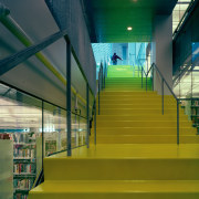 Close up view of a yellow staircase leading architecture, daylighting, green, leisure centre, line, structure, yellow, brown