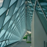 Inside view of the concrete pathway to the architecture, building, daylighting, facade, house, line, roof, sky, structure, teal, gray