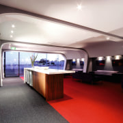 View of the interior red and grey carpet, ceiling, interior design, white