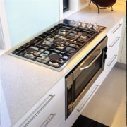 above view of the stainless steel oven and countertop, floor, gas stove, home appliance, kitchen, kitchen appliance, kitchen stove, major appliance, white