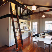 View of the wooden ladder access to the ceiling, interior design, loft, room, black, brown