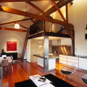 View of the overall living, kitchen and dining interior design, living room, loft, real estate, room, red