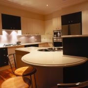 view of the custom made stone benchtop - ceiling, countertop, interior design, kitchen, lighting, room, brown, black