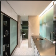 view of the rear half kitchen dhowing glass architecture, bathroom, cabinetry, ceiling, countertop, floor, interior design, kitchen, real estate, room, gray
