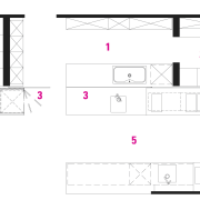 plan view of the kitchen area - plan angle, area, design, diagram, drawing, floor plan, font, line, pattern, product, product design, square, structure, text, white