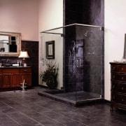 View of a bathroom, black tiled flooring, shower chest of drawers, floor, flooring, furniture, home appliance, interior design, room, black, gray