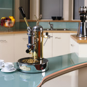 view of n elecktra coffee machine - view product, product design, gray