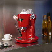 view of n elecktra coffee machine - view drink, product, product design, red, gray