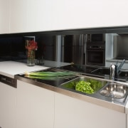 view of the stainless steel sink - view countertop, home appliance, kitchen, kitchen appliance, kitchen stove, white, black