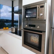 view of the Blanco stainless steel oven and countertop, home appliance, kitchen, kitchen appliance, kitchen stove, major appliance, microwave oven, oven, gray