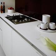 view of the quantum quartz zenith benchtop - countertop, interior design, kitchen, kitchen stove, product design, gray, black