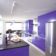 Open plan kitchen with blue cabinetry, folding doors countertop, interior design, kitchen, product design, purple, gray