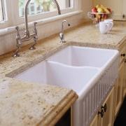 view of this gold granite benchtop - view bathroom, bathroom sink, ceramic, countertop, floor, kitchen, plumbing fixture, room, sink, tap, tile, gray