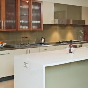 view of the quantum quartz coral reef benchtop cabinetry, countertop, cuisine classique, interior design, kitchen, room, gray, brown