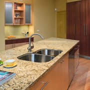 view of the giallo topazio granite benchtop - cabinetry, countertop, floor, flooring, hardwood, interior design, kitchen, room, brown, orange