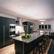 An example of the ways Brightworks Stainless, stainless cabinetry, ceiling, countertop, cuisine classique, interior design, kitchen, room, gray, black