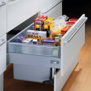 this drawer uses space behind the toekick to drawer, furniture, product, table, gray
