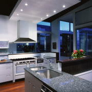 view of the kitchen showing the delonghi oven/hob countertop, home appliance, interior design, kitchen, gray, black