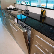 view of this colour coordinated dishwasher - view countertop, floor, interior design, kitchen, sink, gray