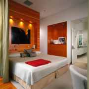 View of the master bedroom, wooden flooring and bed frame, bedroom, ceiling, hotel, interior design, real estate, room, suite, wall, gray, brown