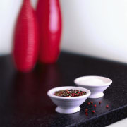 view of the laminex squareform benchtop - view still life photography, white, red, black