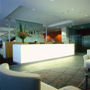 View of the reception area, cream tiled floor, architecture, ceiling, glass, interior design, lobby