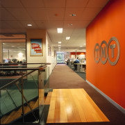 View of a hallway in the office, a ceiling, fast food restaurant, interior design, brown