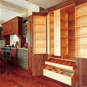 view of custom timber cabinets and pantry - cabinetry, countertop, cuisine classique, cupboard, flooring, furniture, hardwood, interior design, kitchen, shelving, wood, wood flooring, wood stain, red, orange