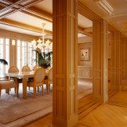 View of the hallway and dining area, tiled ceiling, column, dining room, door, estate, floor, flooring, hardwood, home, interior design, living room, lobby, real estate, room, window, wood, wood flooring, brown