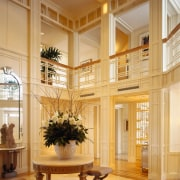 View of the entrance way, cream walls, wooden ceiling, home, interior design, living room, lobby, window, orange, brown