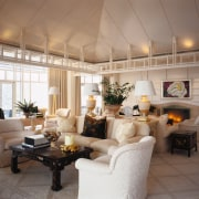 View of the living area, tiled floor, white ceiling, home, interior design, living room, real estate, room, gray, brown