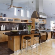 View of a kitchen, wooden and black tiled countertop, cuisine classique, interior design, kitchen, real estate, gray